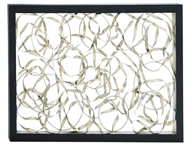 "Silver Metal Circles with Black Frame Wall Decor 60""W x 40""H"