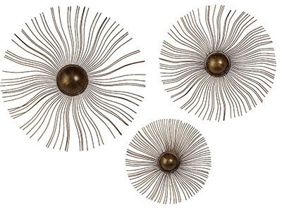 "Set of 3 Sunburst Metal Wall Decor 24""-38""Dia."