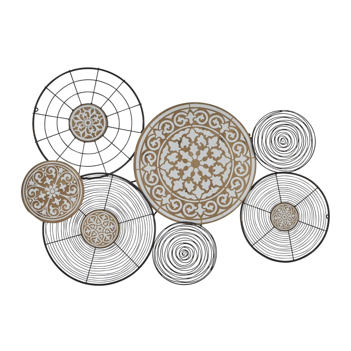 "Wire and Wood Discs Metal Wall Decor 41""W x 28""H"