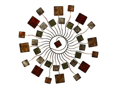 Adolfo Metal Circle of Squares Wall Art 32""