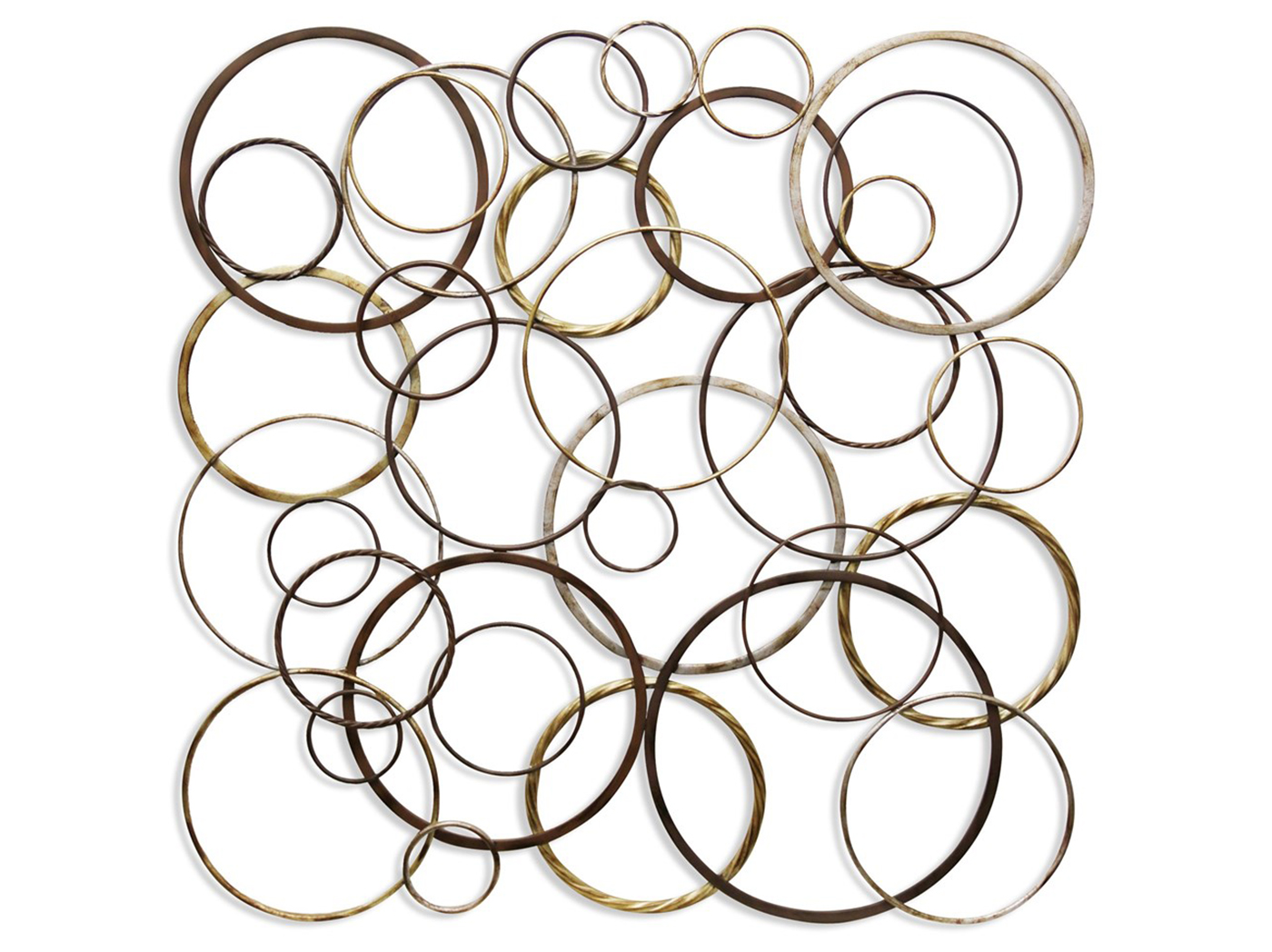 "Bronze, Gold, and Silver Rings Metal Wall Sculpture 39""W x 39""H"