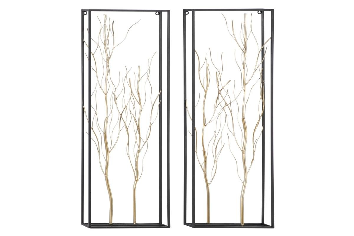 "Set of 2 Gold Metal Branches Wall Décor 13""W x 36""H"