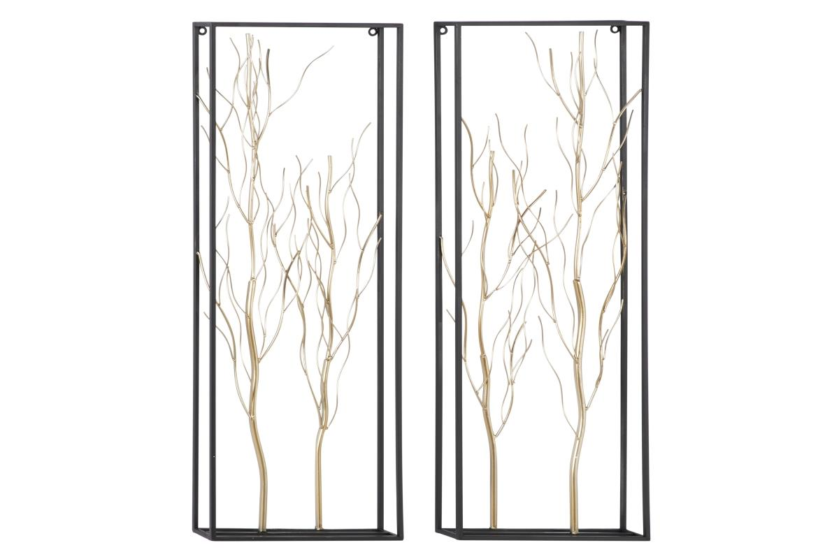 Set of 2 Gold Metal Branches Wall Decor