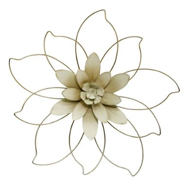 "Gold/Ivory Metal Flower Wall Decor 20.5"" Round"