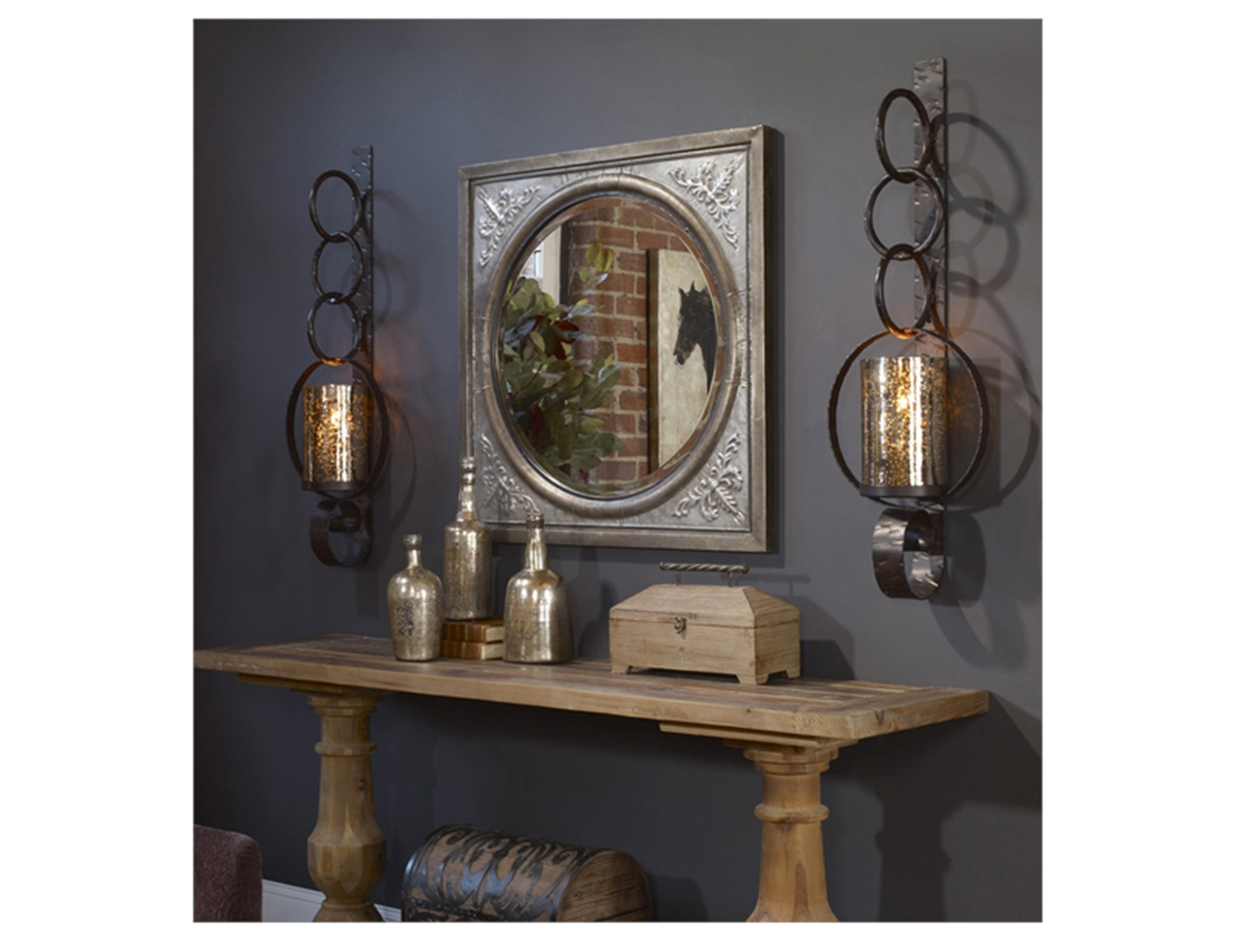 Rust Brown Wall Sconce 3X39X8""