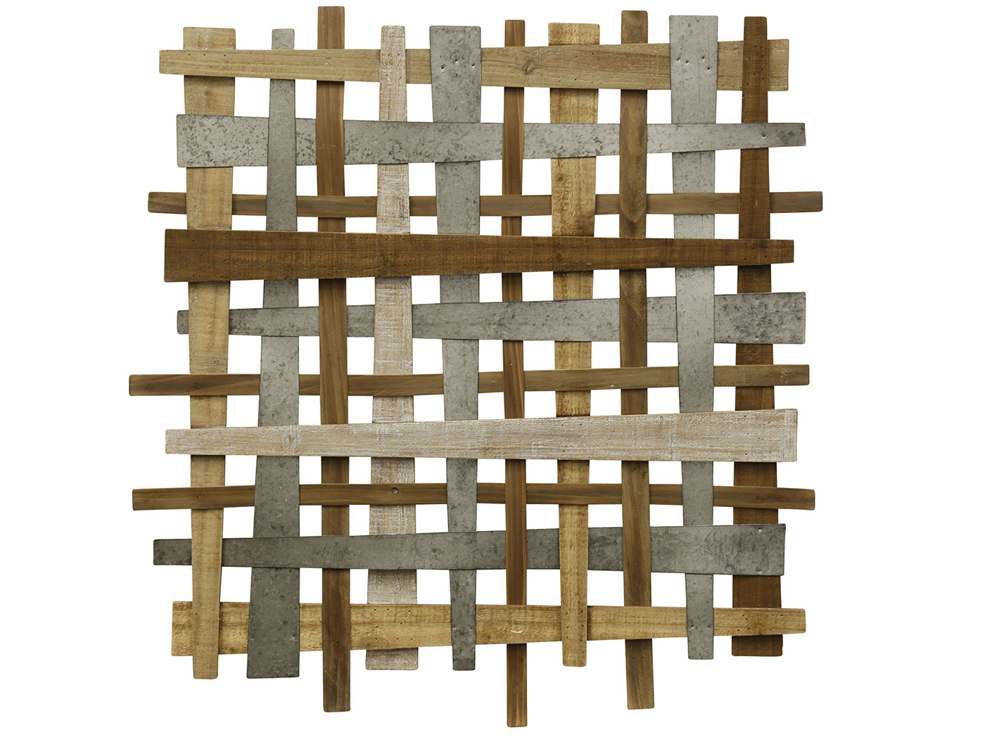 "Wood and Metal Crosshatch Wall Art 37""W x 36""H"
