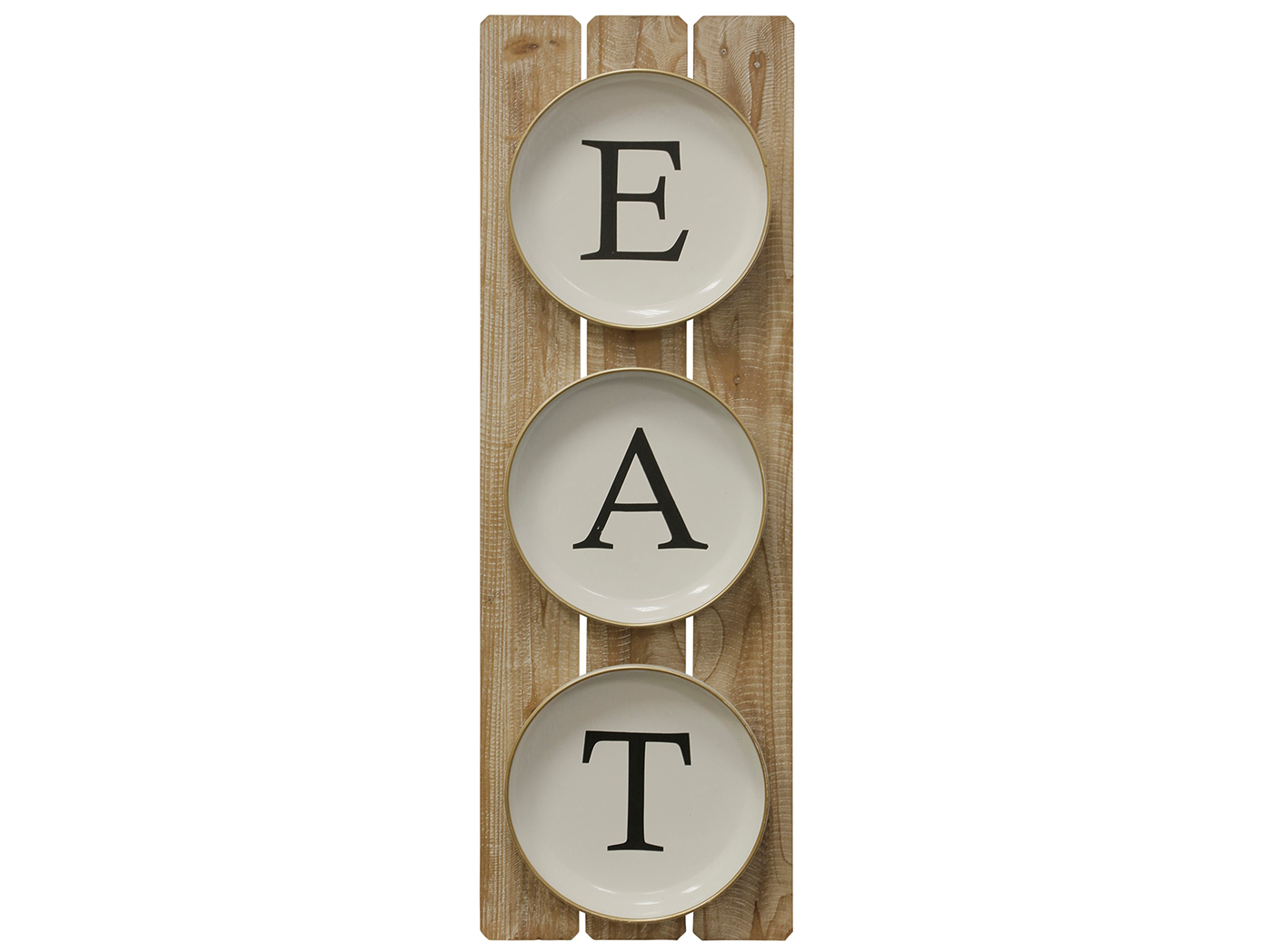 "Wood and Metal Eat Wall Art 12""W x 36""H"