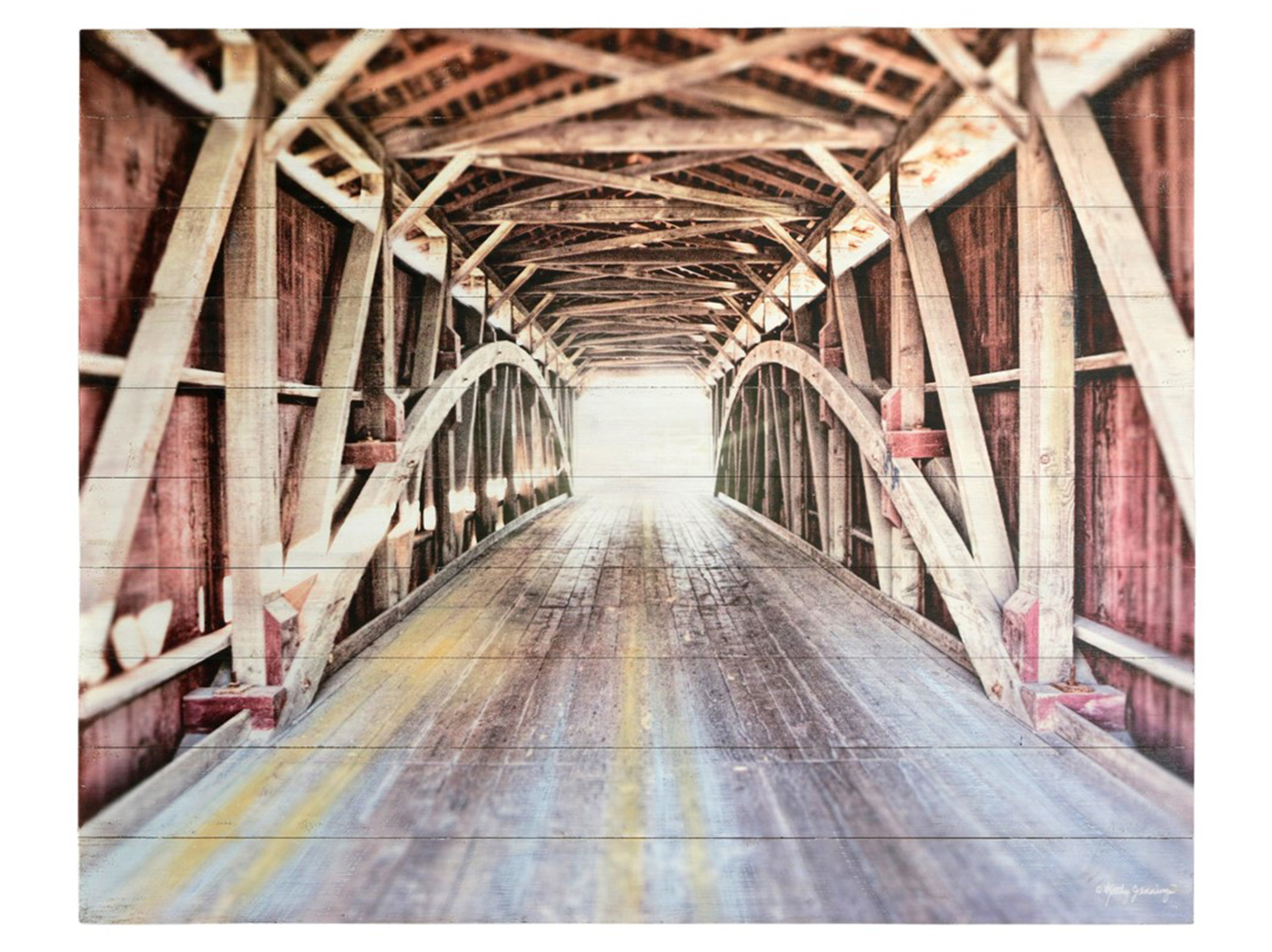"Covered Bridge Wood Wall Decor 50""W x 40""H"