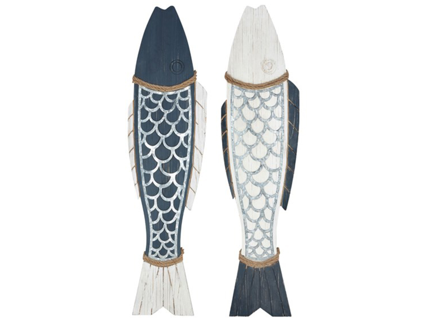 "Assorted Blue and White Wood Fish Wall Decor 11""W x 44""H"