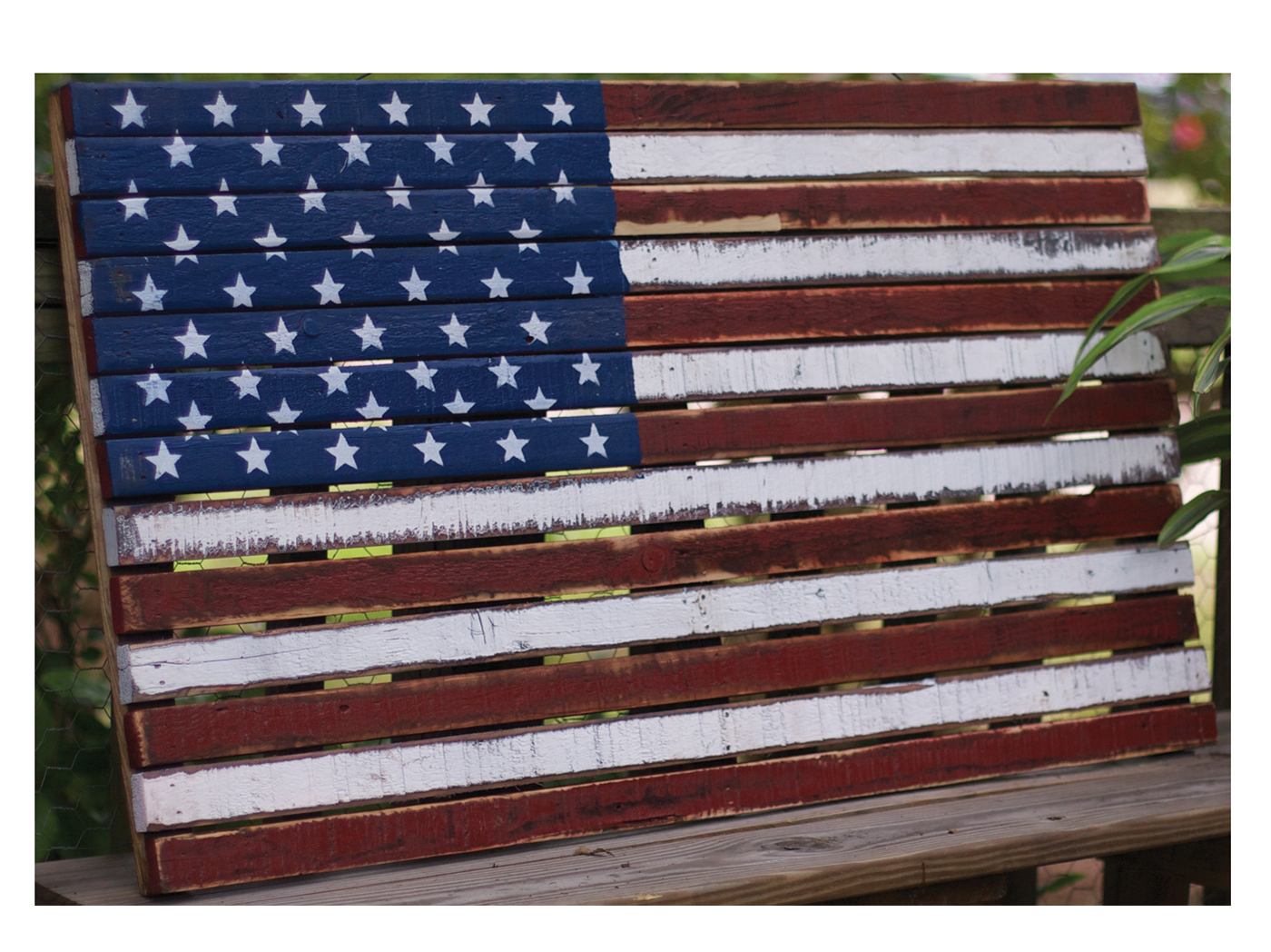 "Wood American Flag Art 39""W x 22""H"