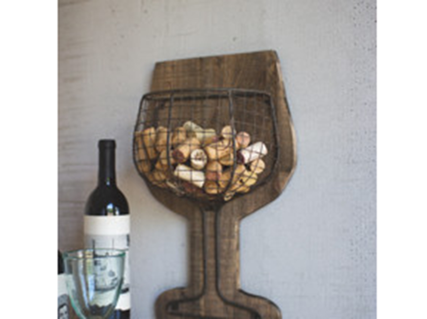 "Wood and Wire Wine Wall Cork Holder 12""W x 18""H"