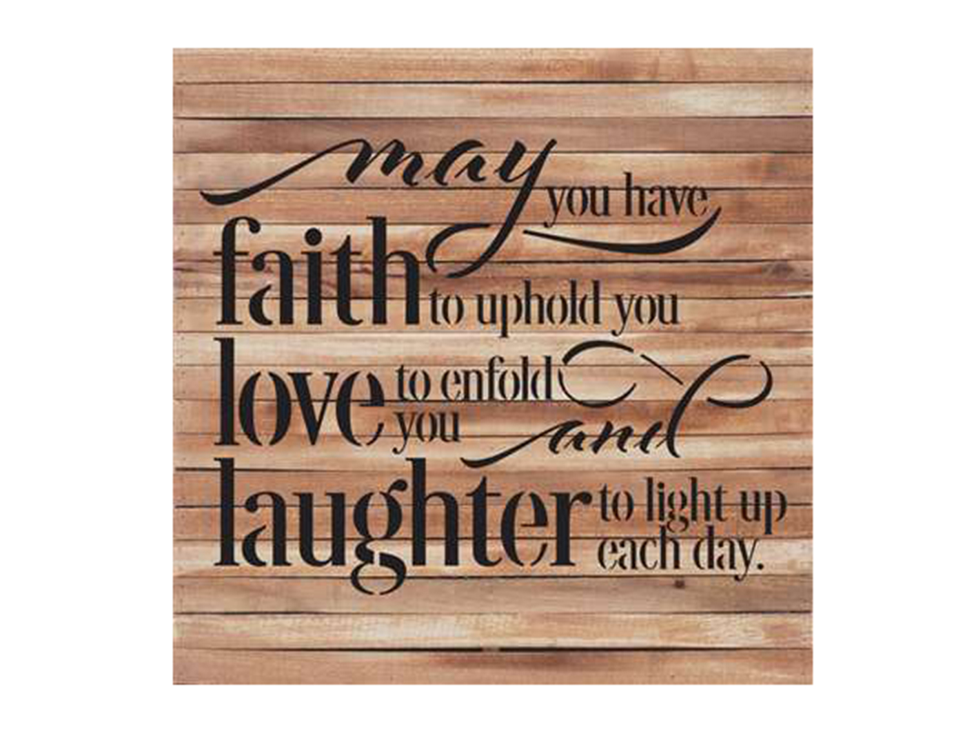 "Faith Love Laughter Wood Box Art 28""W x 28""H"