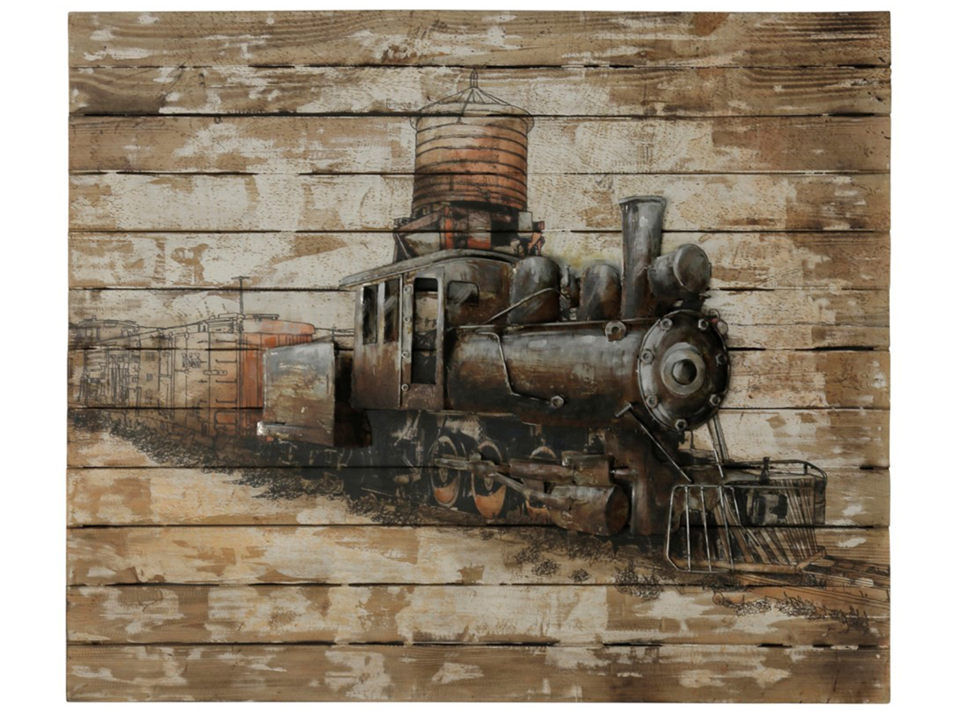 "Wood and Metal Train Wall Decor 39""W x 42""H"