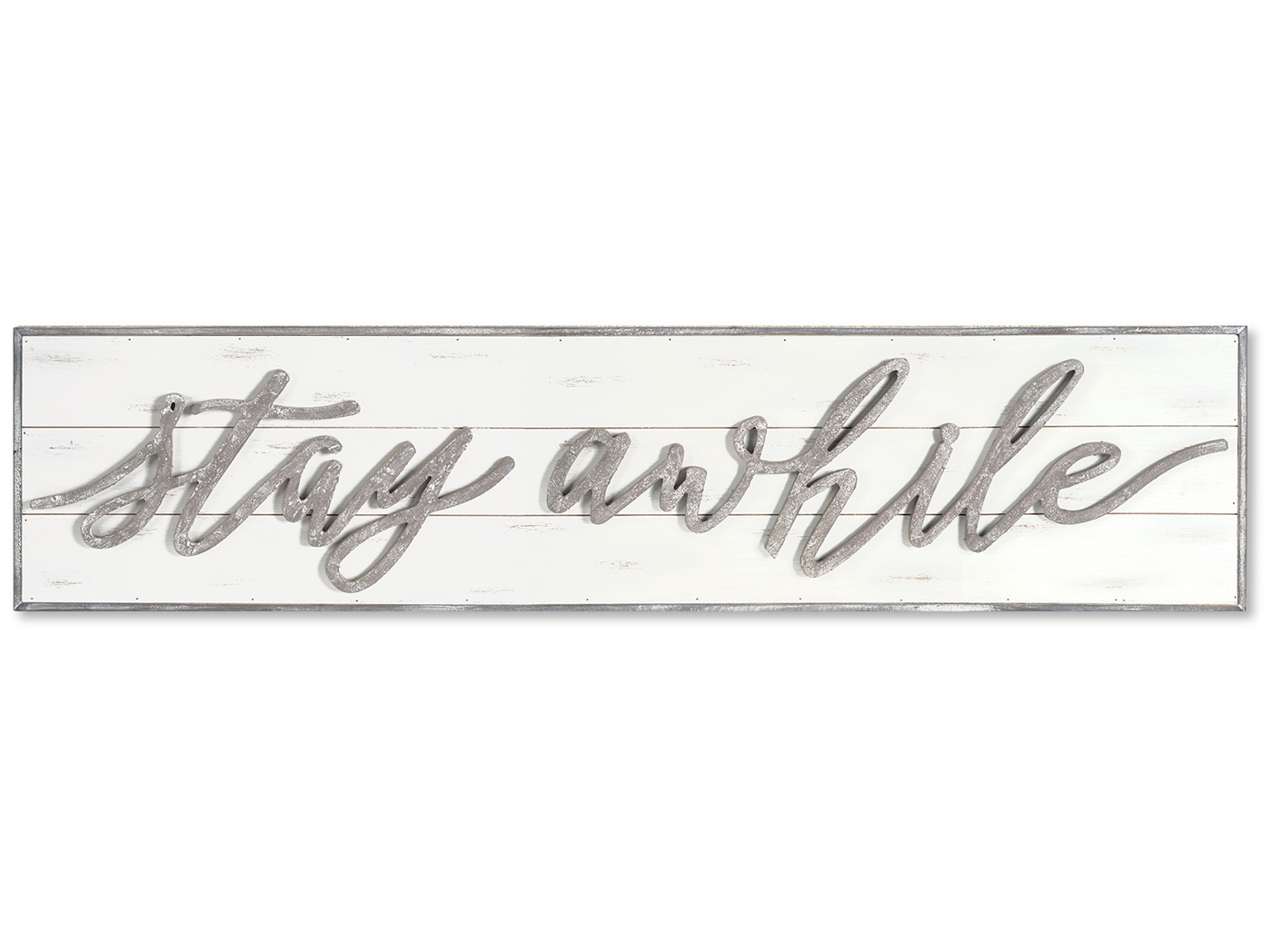 "White and Grey Wood Stay Awhile Sign 48X11.25""H"