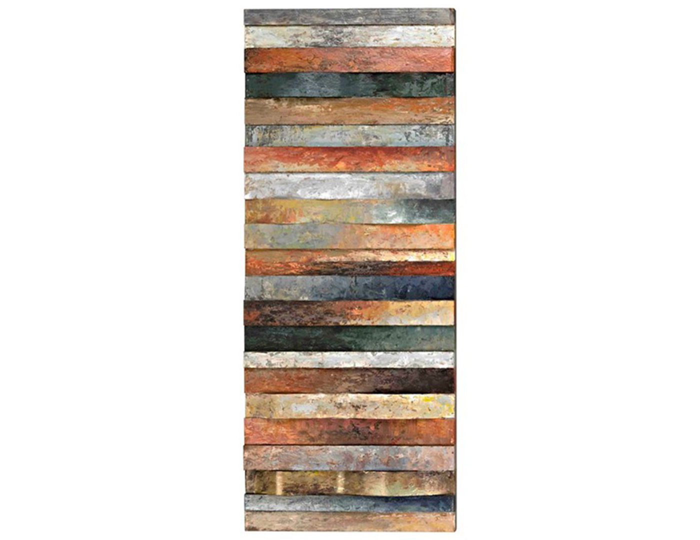 "Multi-Colored Curved Plank Design Art 20""W x 50""H"