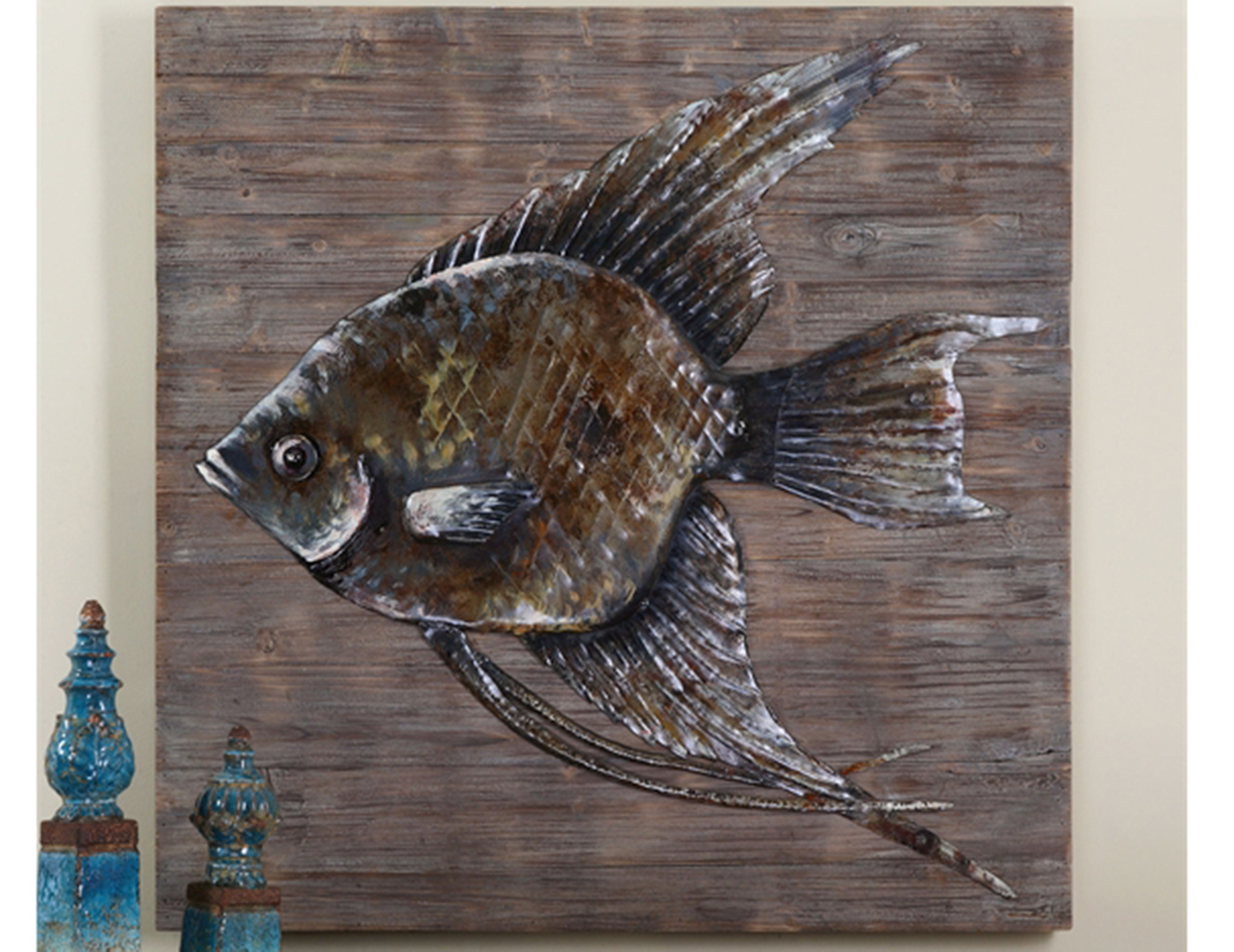 "Iron Fish on Reclaimed Wood 40""W x 40""H"