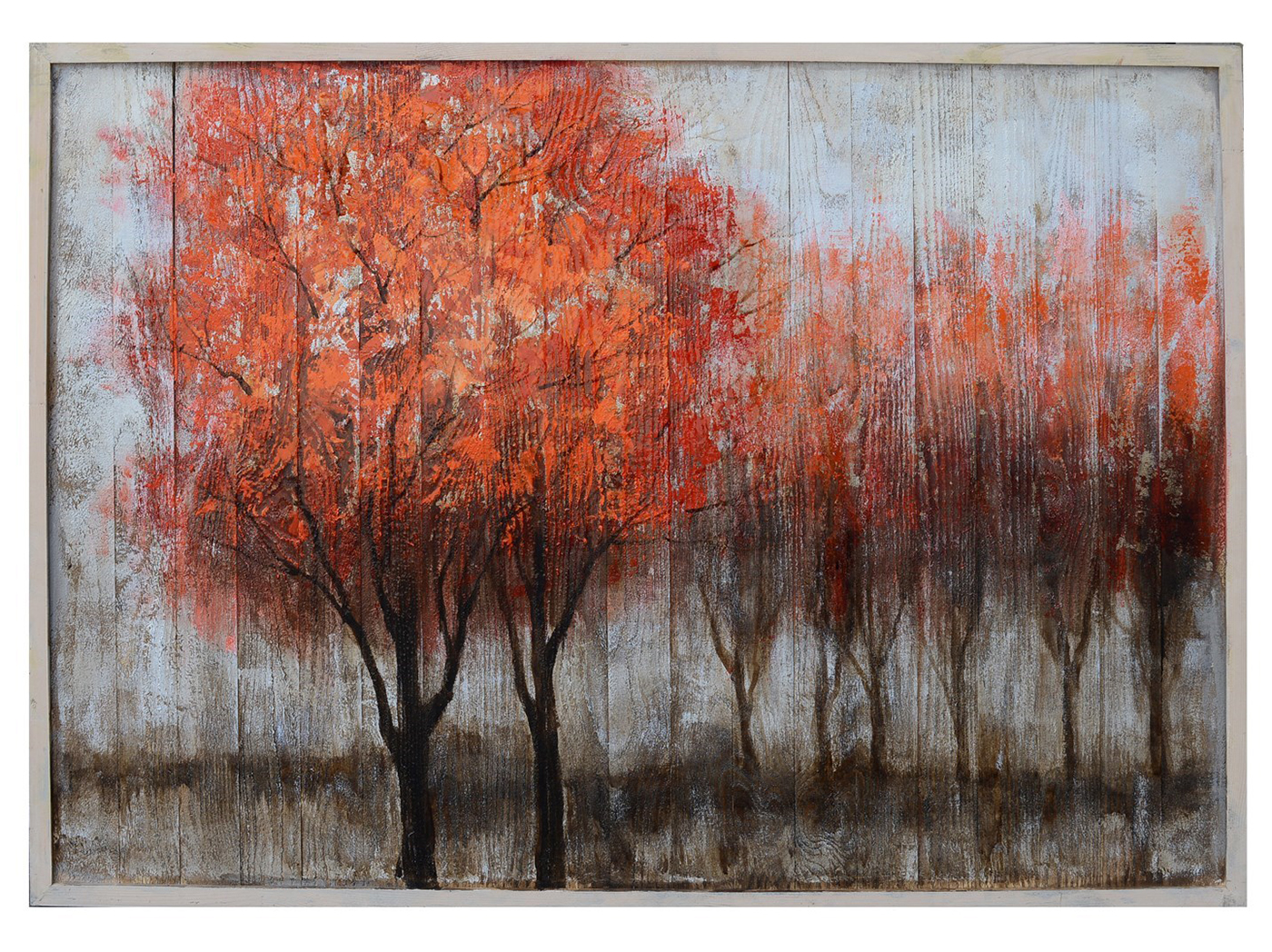 "Red Trees Handpainted On Wood Framed Art 46""W x 36""H"