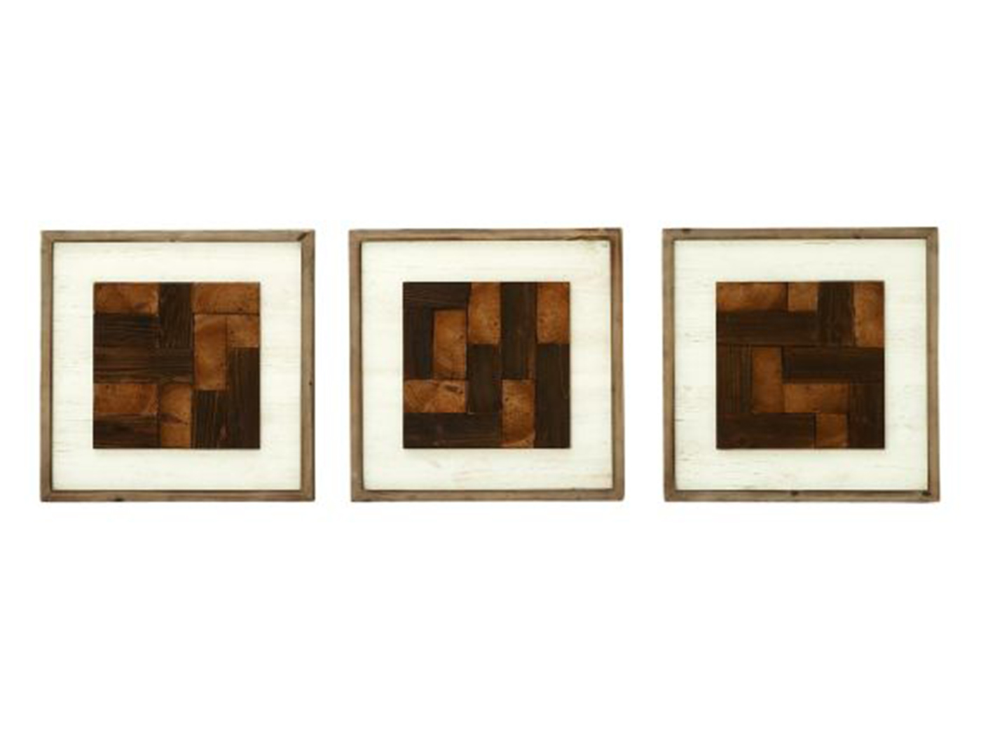 "Set of 3 Wood Geometric Wall Decor 16""W x 16""H"