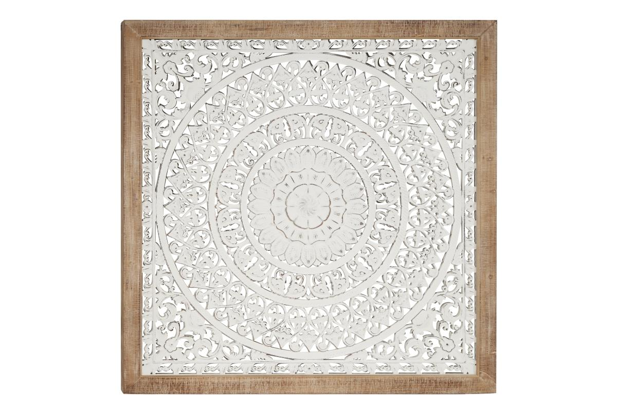 "White Carved Wood Wall Plaque 47""W x 47""H"