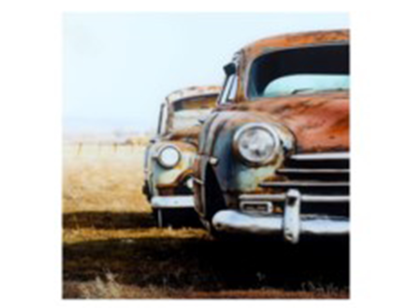 "Old Cars Tempered Glass Wall Art 39.5""W x 39.5""H"