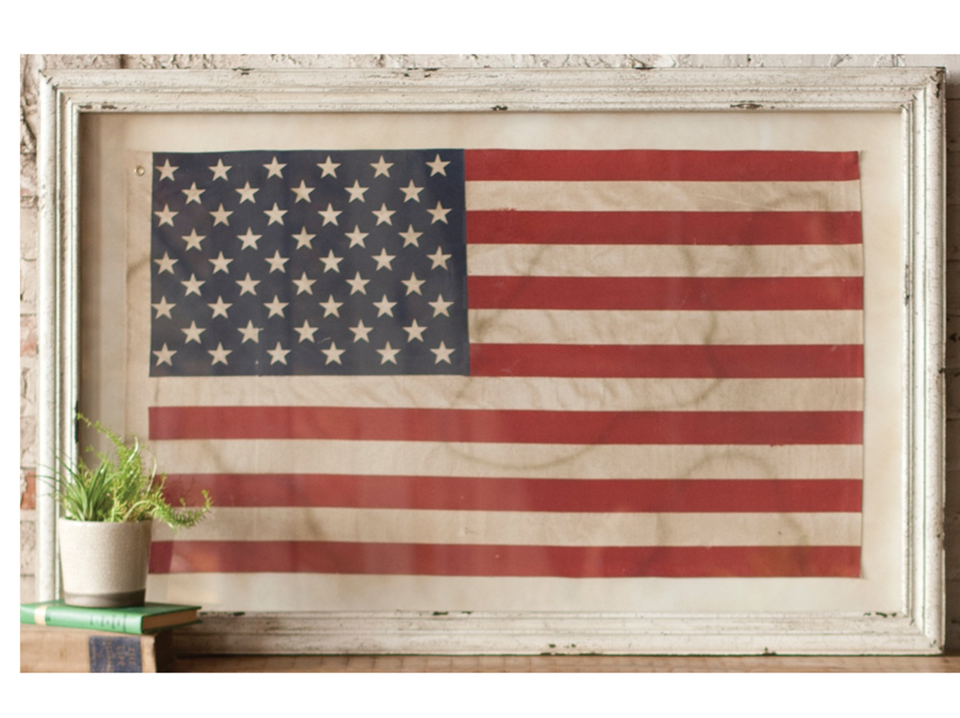 "Flag Under Glass Art 48""W x 32""H"