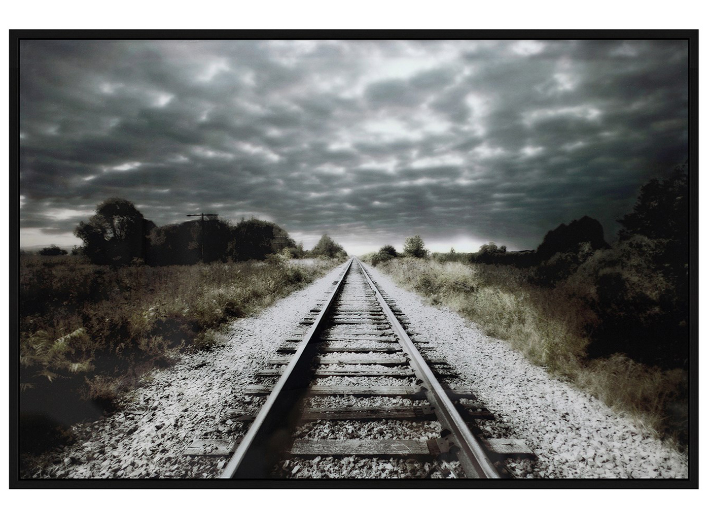 "Railroad Track Framed Tempered Glass Art 48""W x 32""H"