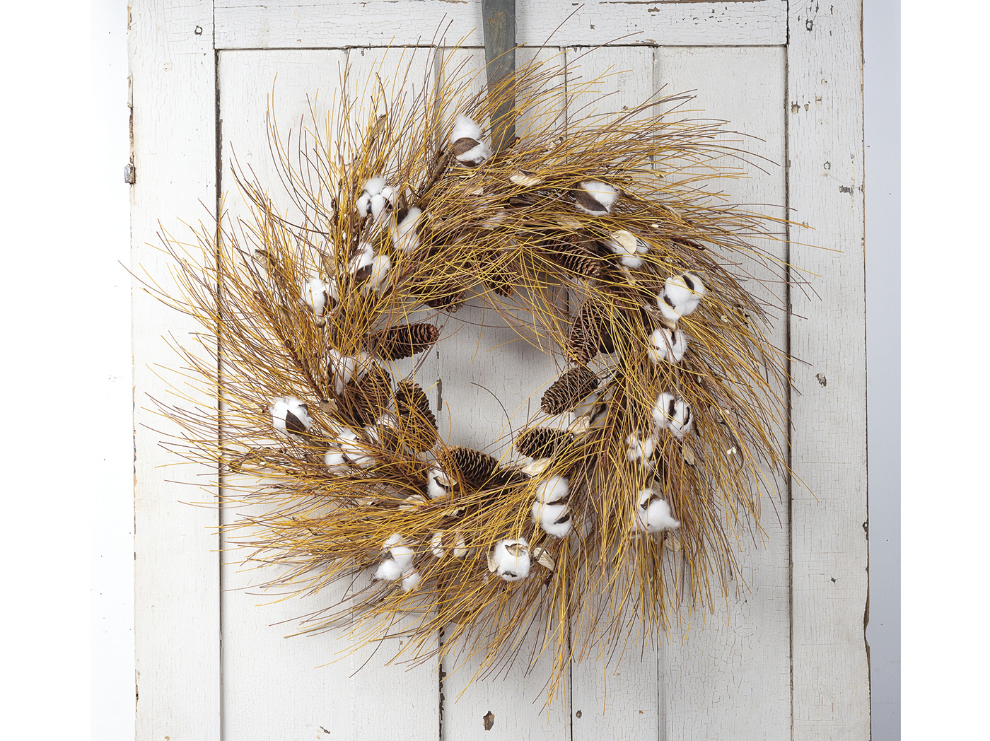 "Cotton and Needles Wreath 34""Dia."