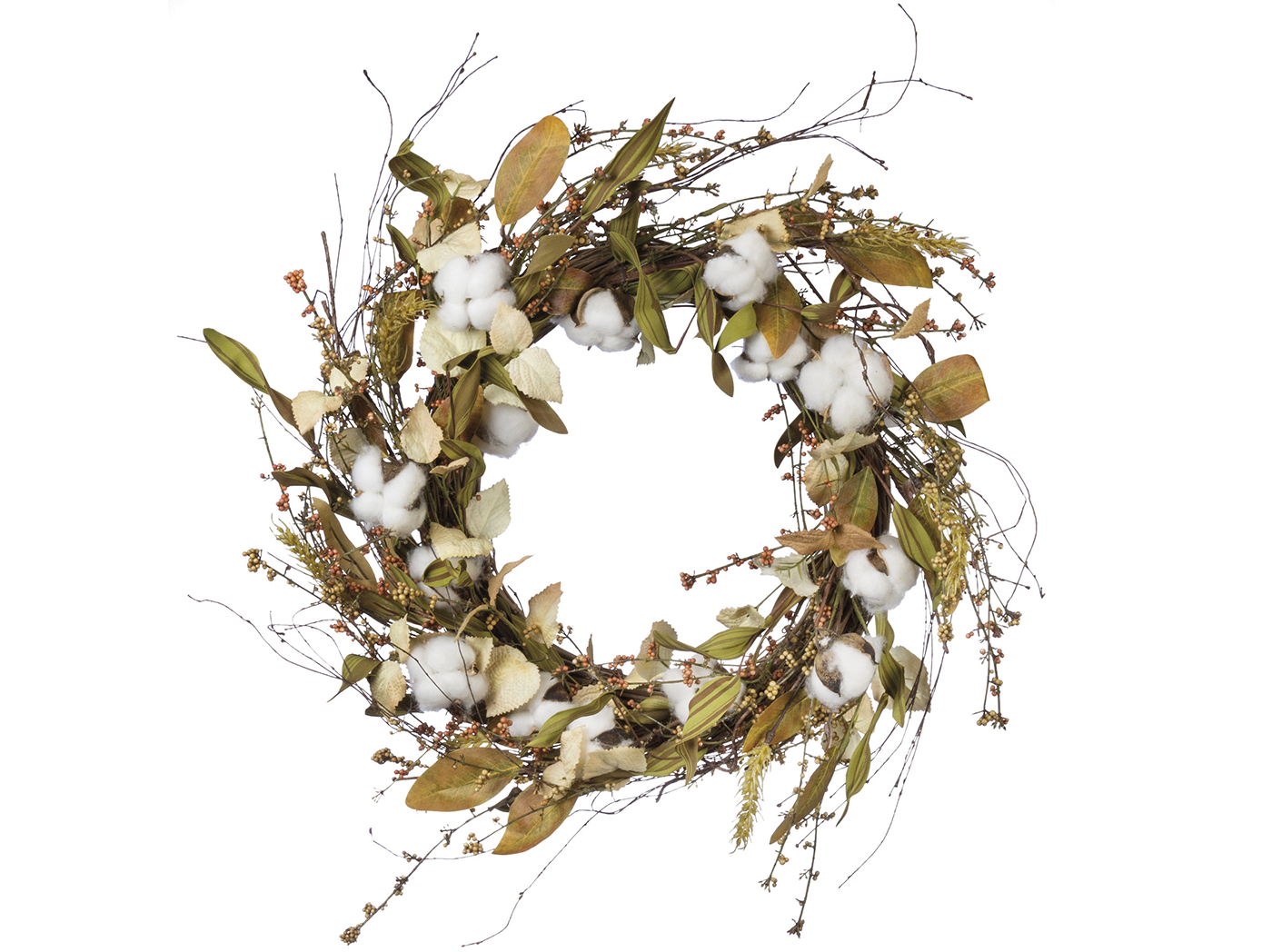 "Cotton and Leaves Wreath 22""Dia."