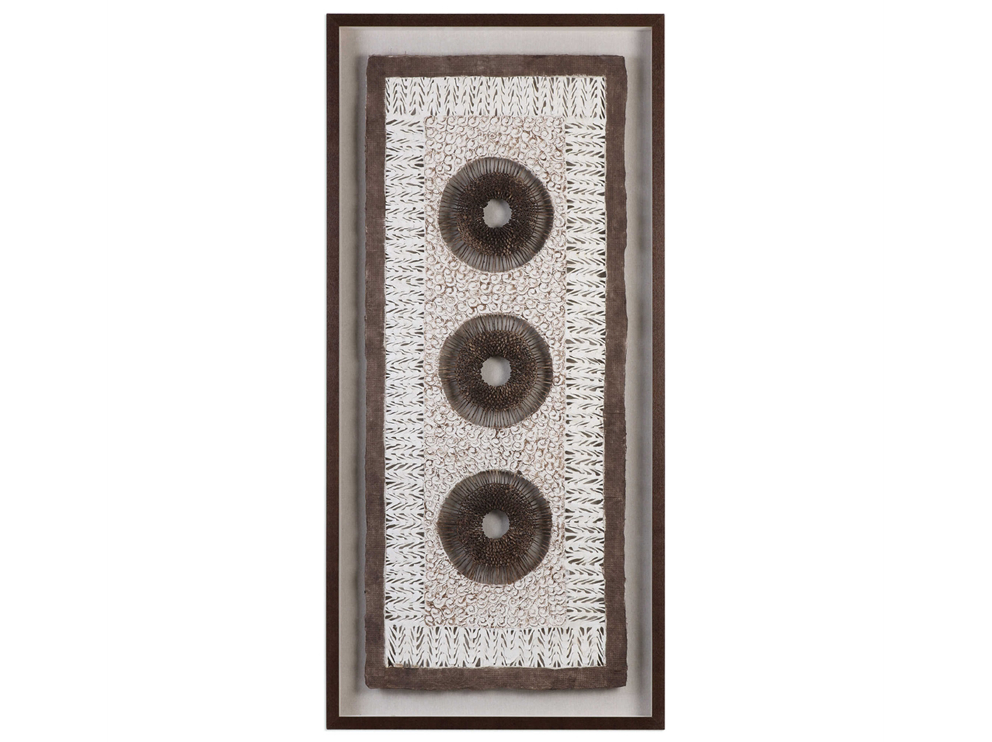 "Tan and Brown Paper Circles Shadowbox Art 28""W x 59""H"