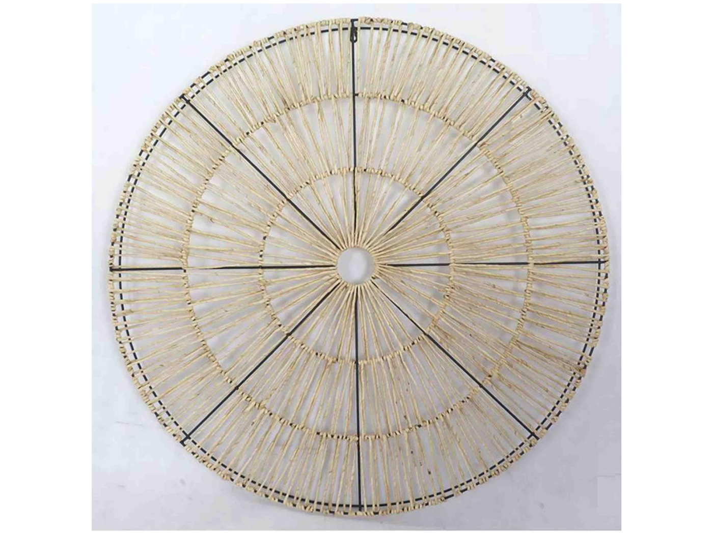 "Natural Material and Metal Wall Sculpture 39"" Round"
