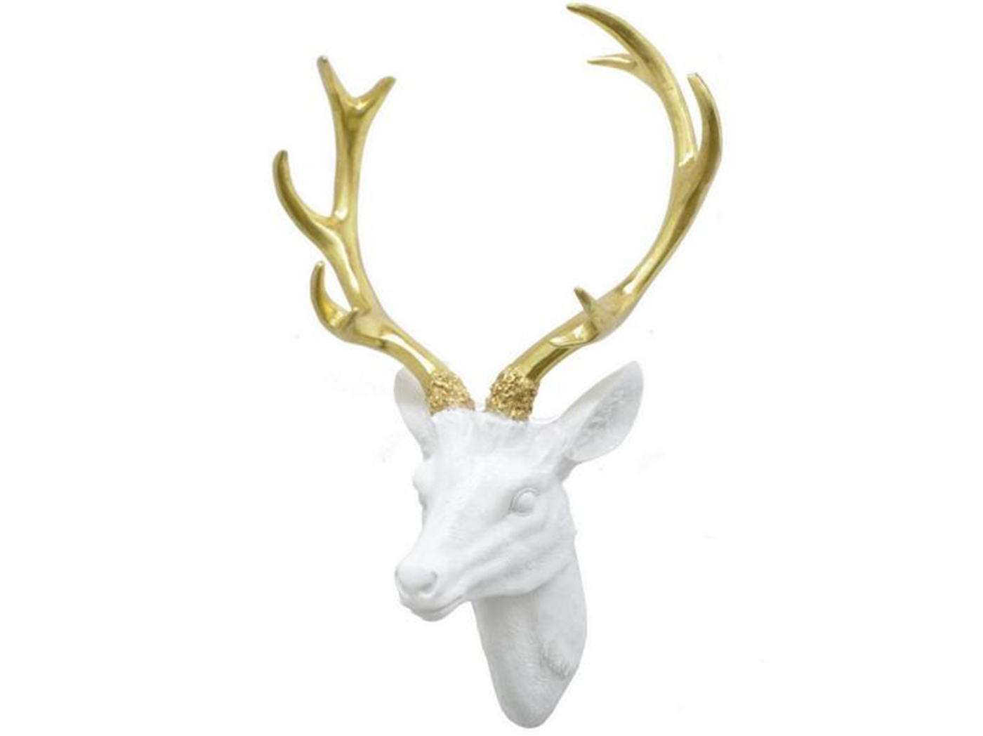 "White and Gold Deer Head Wall Décor 12""W x 15""H"