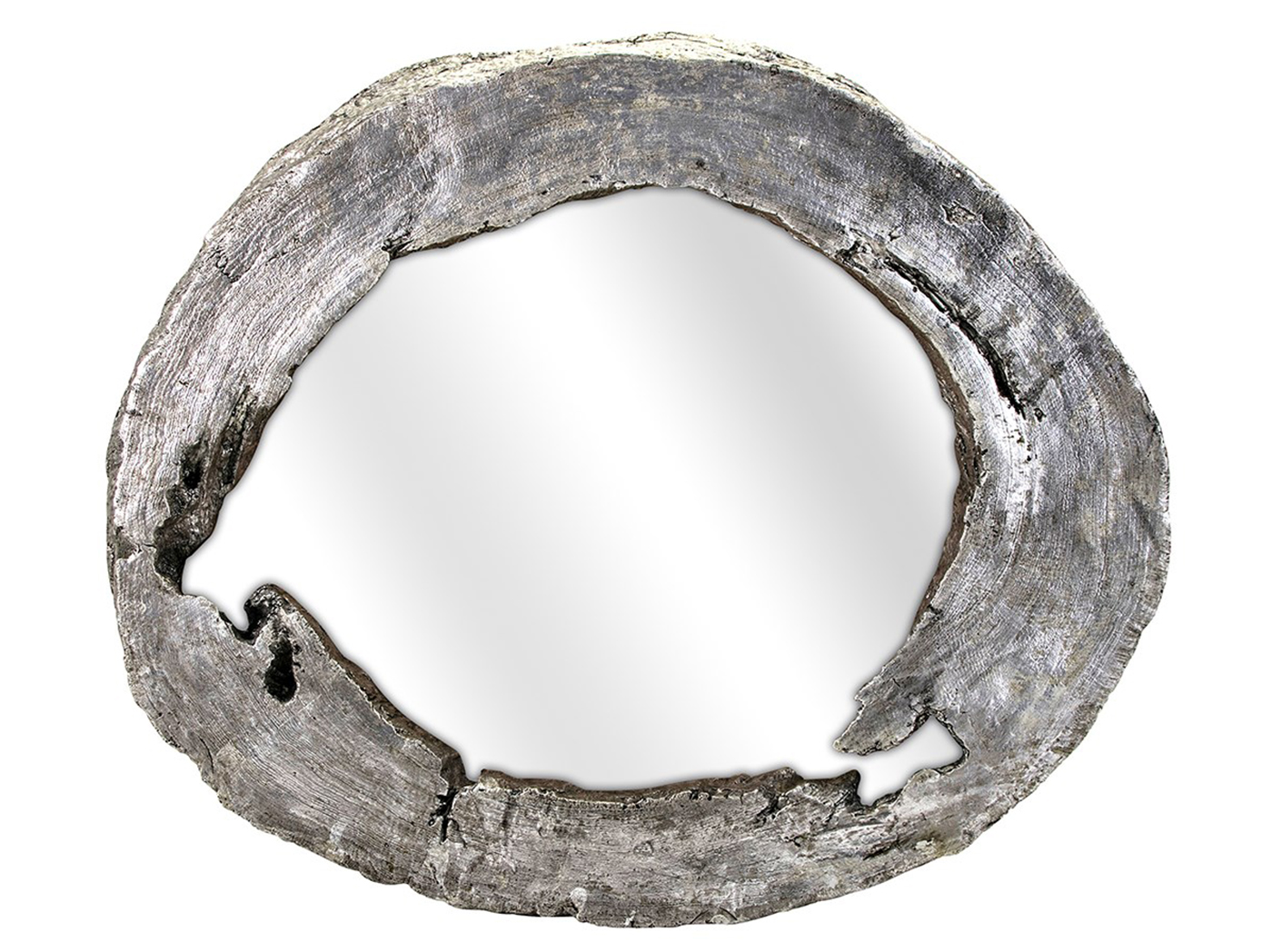 "Silver Tree Ring Wall Mirror 46""W x 39""H"
