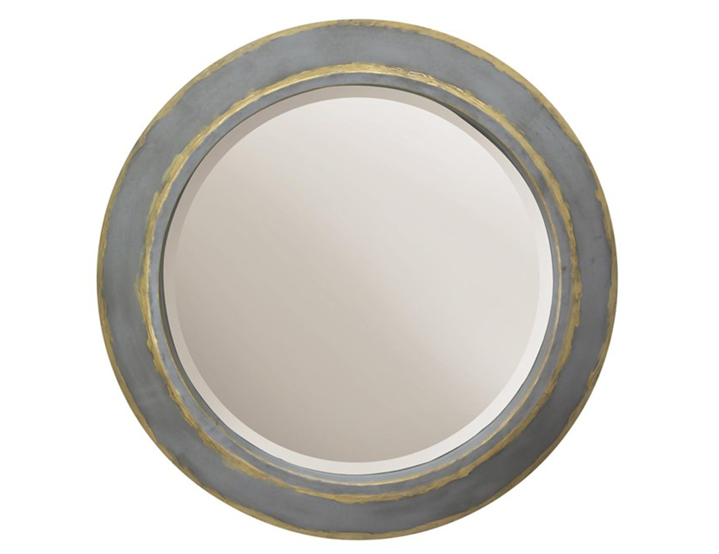 Tin and Gold Finish Round Mirror