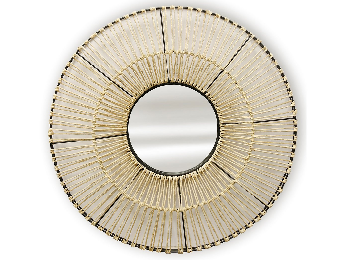 Natural Woven Round Wall Mirror 36""