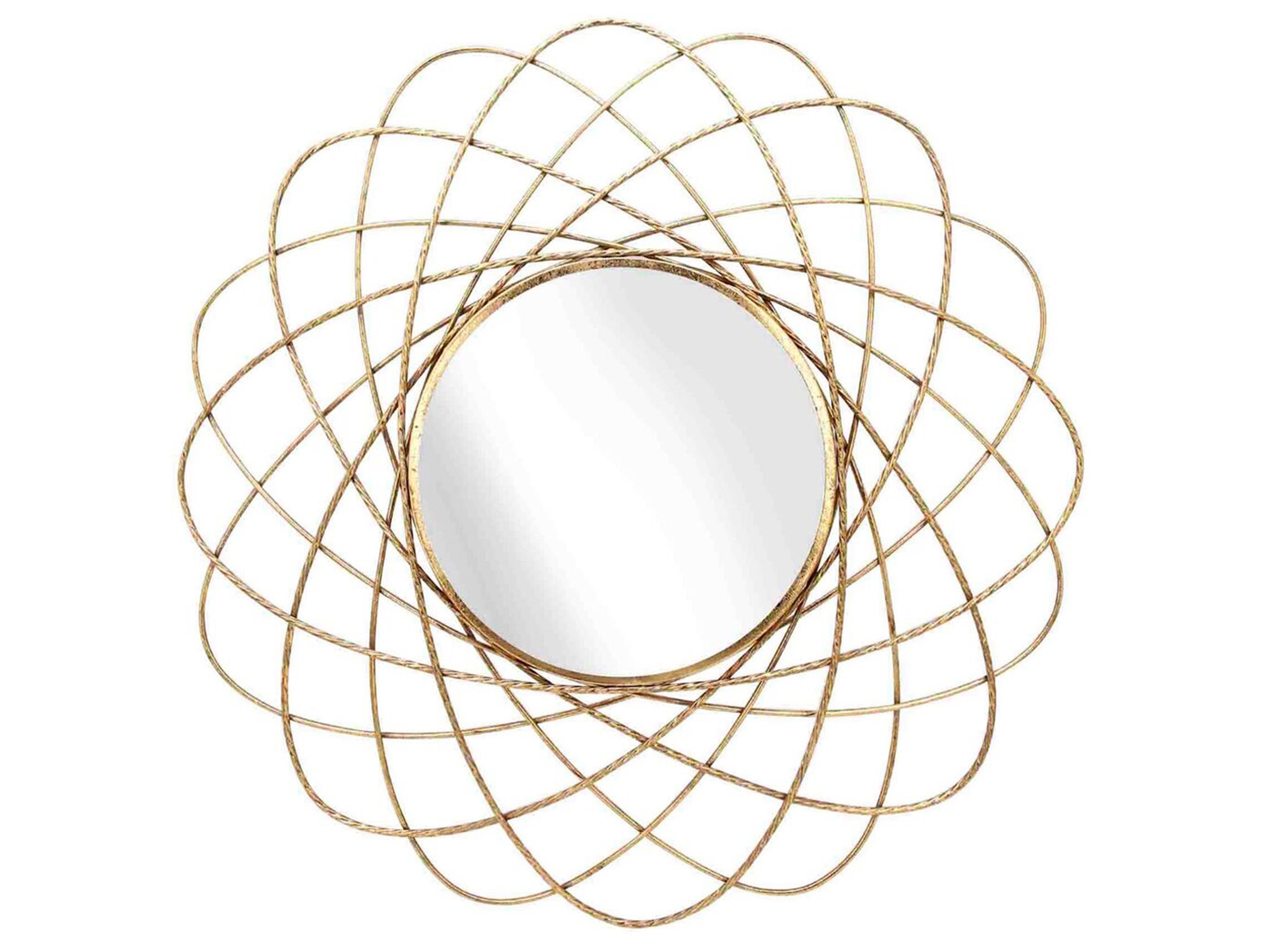 Gold Metal Orbit Wall Mirror 36""
