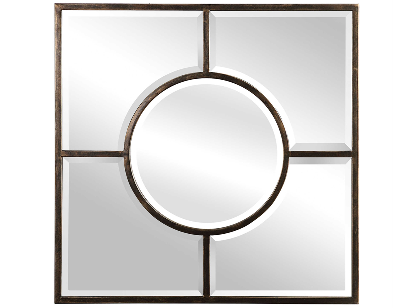 "Bronze Forged Iron Beveled Mirror 36""W x 36""H"