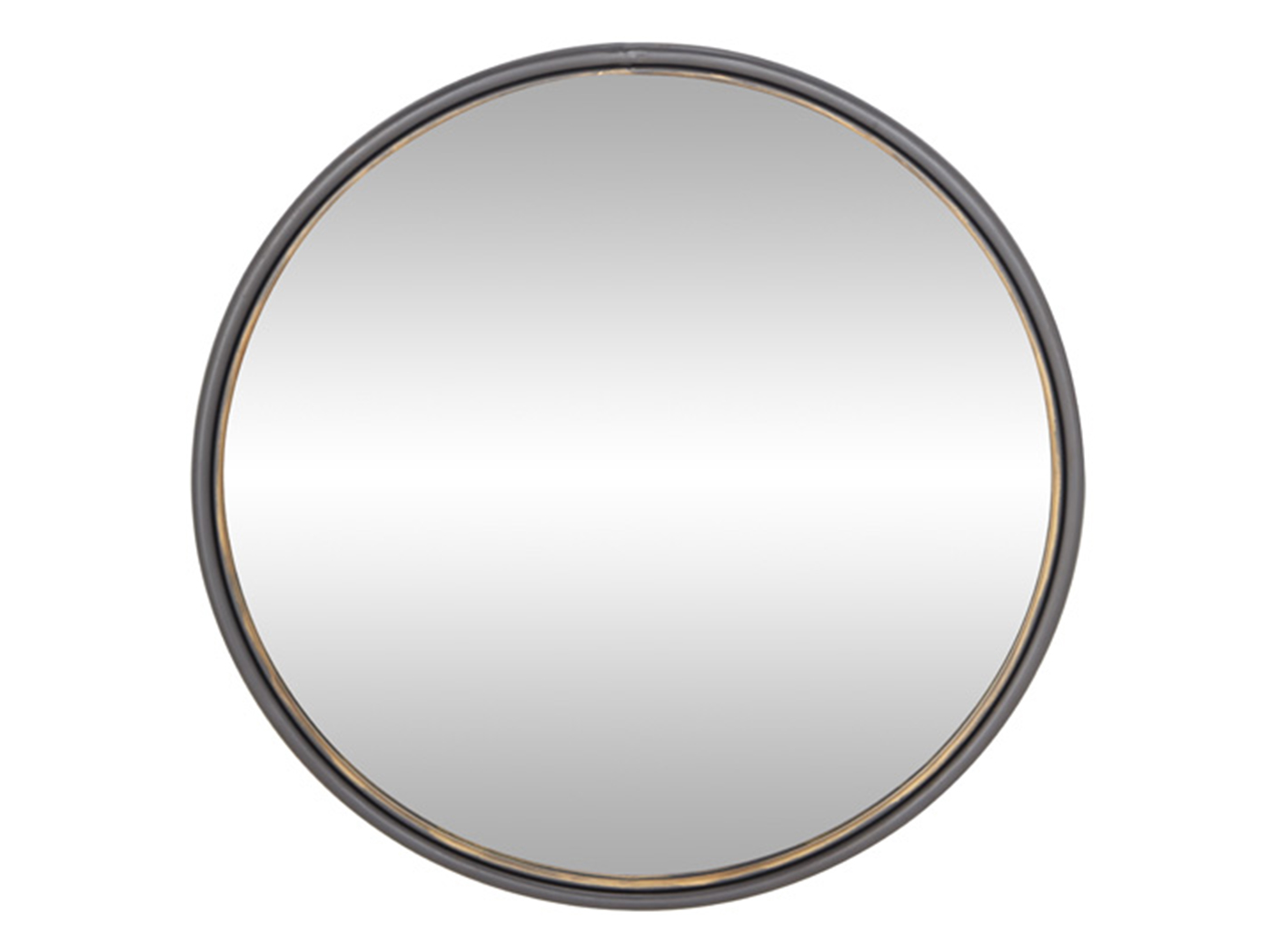 Brass and Bronze Rim Round Wall Mirror 35""