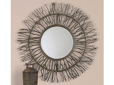 "Josiah Birch Twig Mirror 38"" Round"
