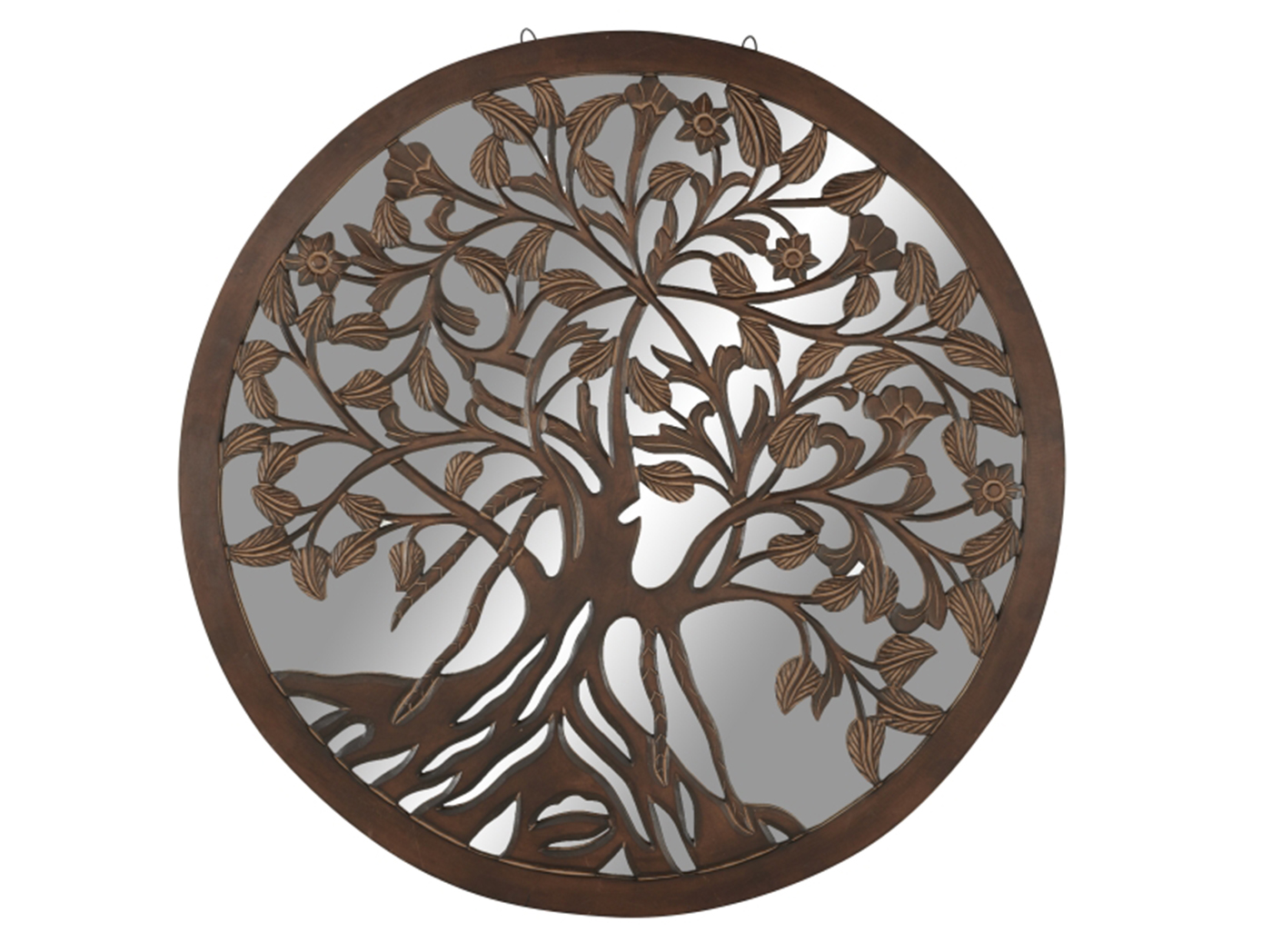 "Wood Tree Decorative Wall Mirror 48"" Round"