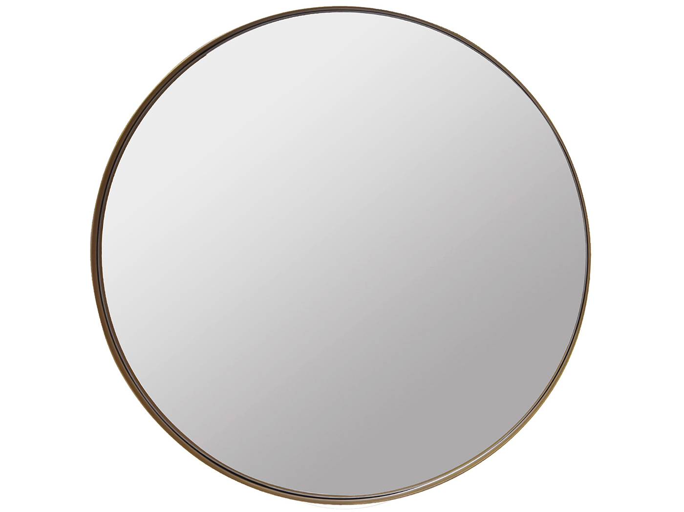 Antique Brass Metal Round Mirror 48""