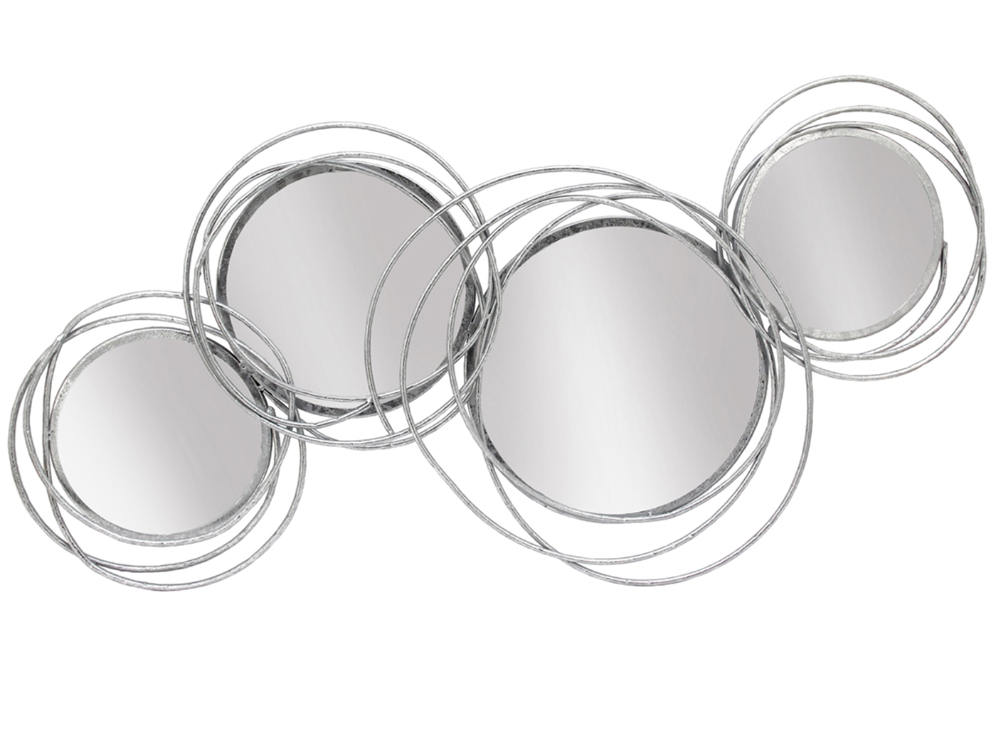 "Looped Silver 4 Circle Mirror 41X19.5""H"