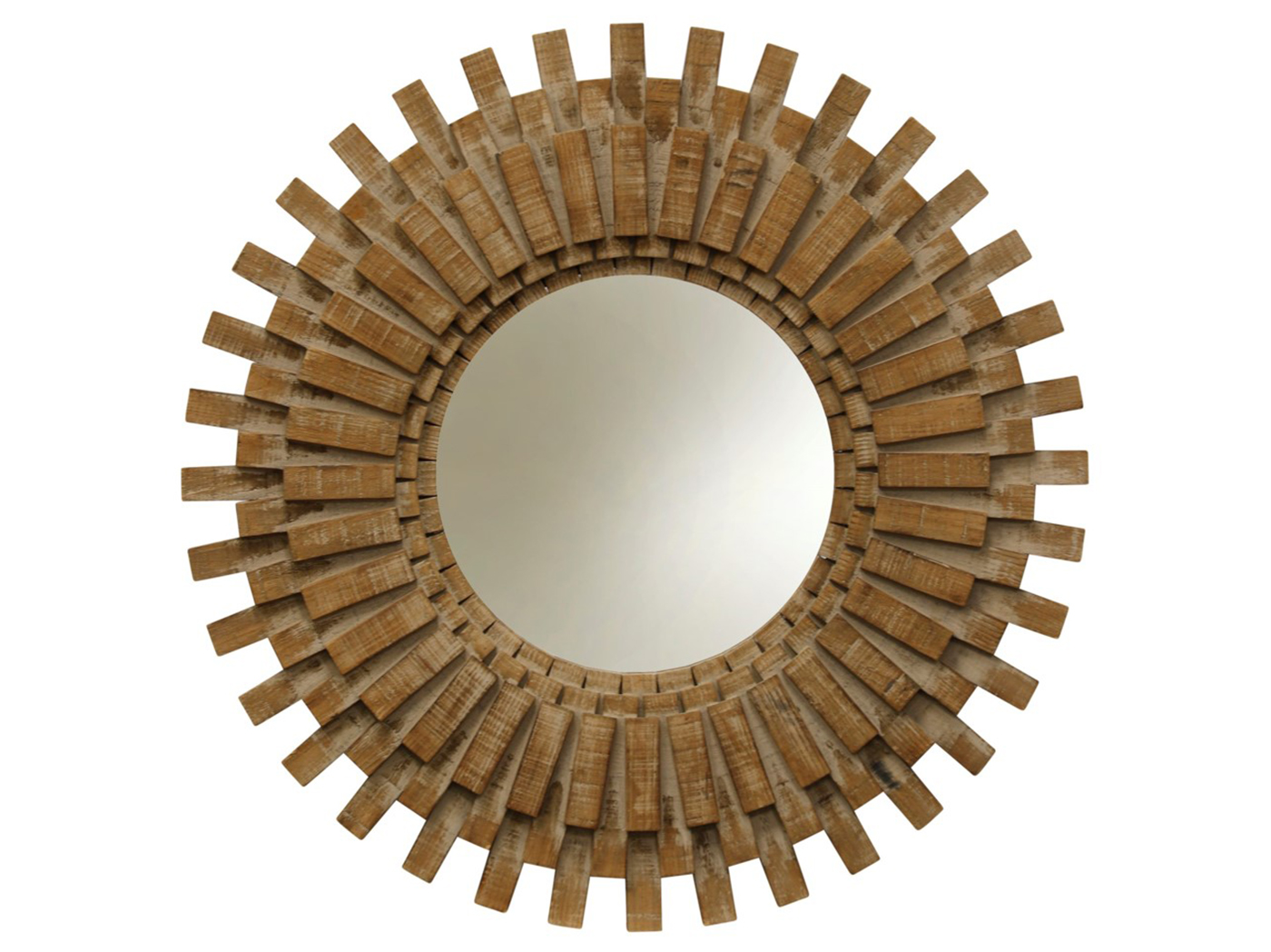 Sunburst Rustic Wood Round Wall Mirror 34""