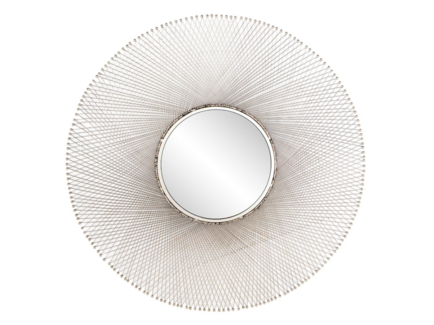 Wire Round Wall Mirror 45""