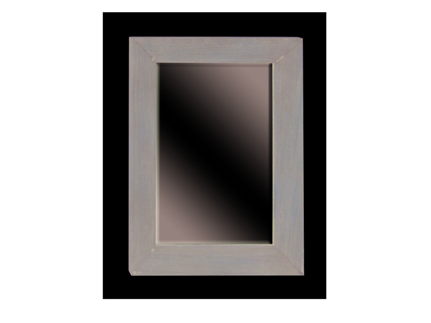 "Grey Wood Framed Wall Mirror 33""W x 45""H"