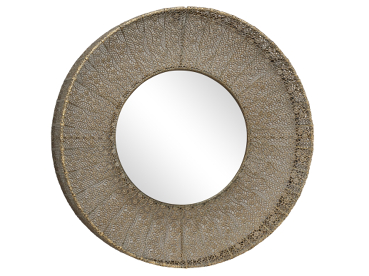 "Antique Gold Metal Wall Mirror 27"" Round"