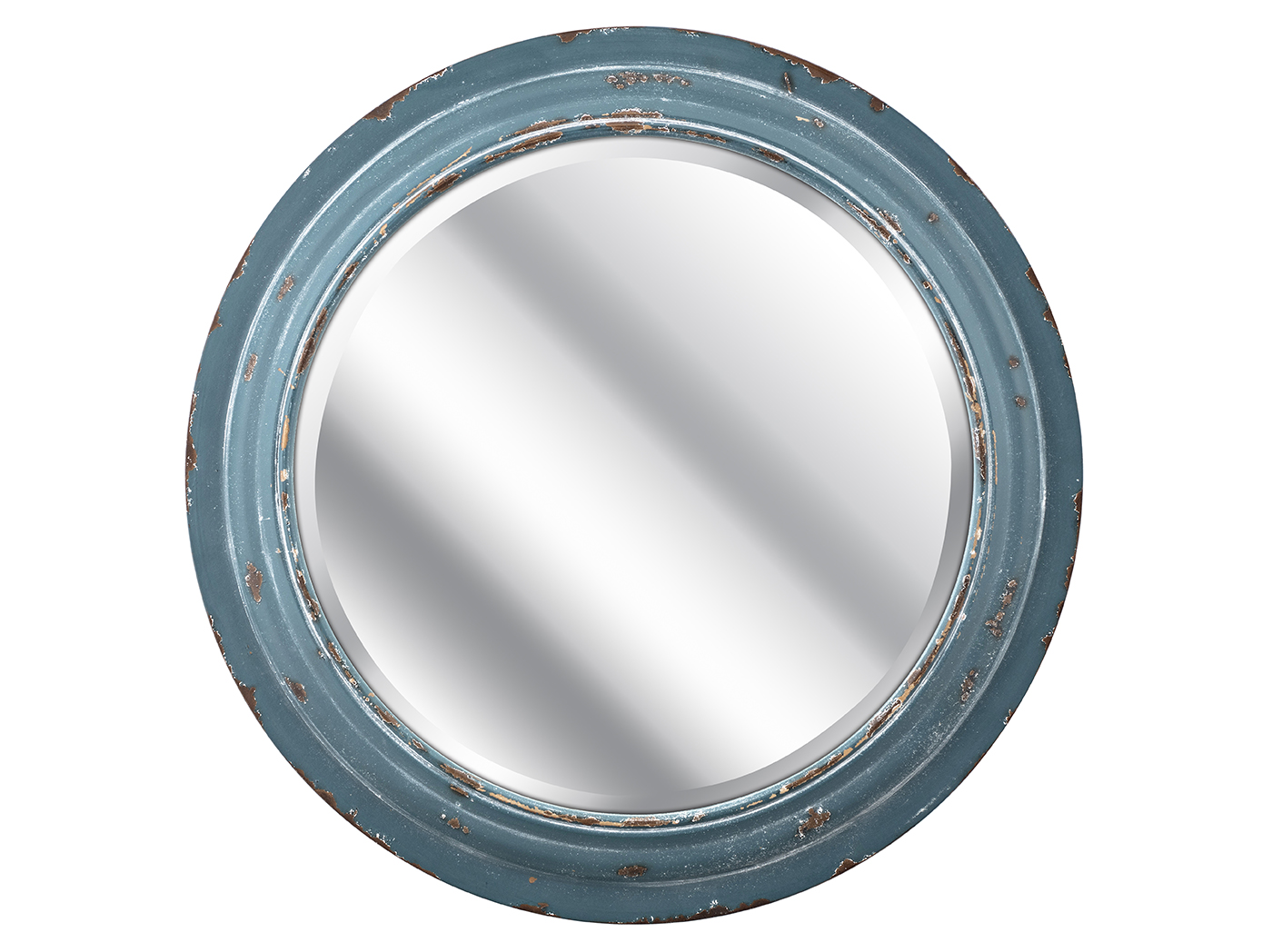 "Blue Round Beveled Wall Mirror 23.5""Dia."