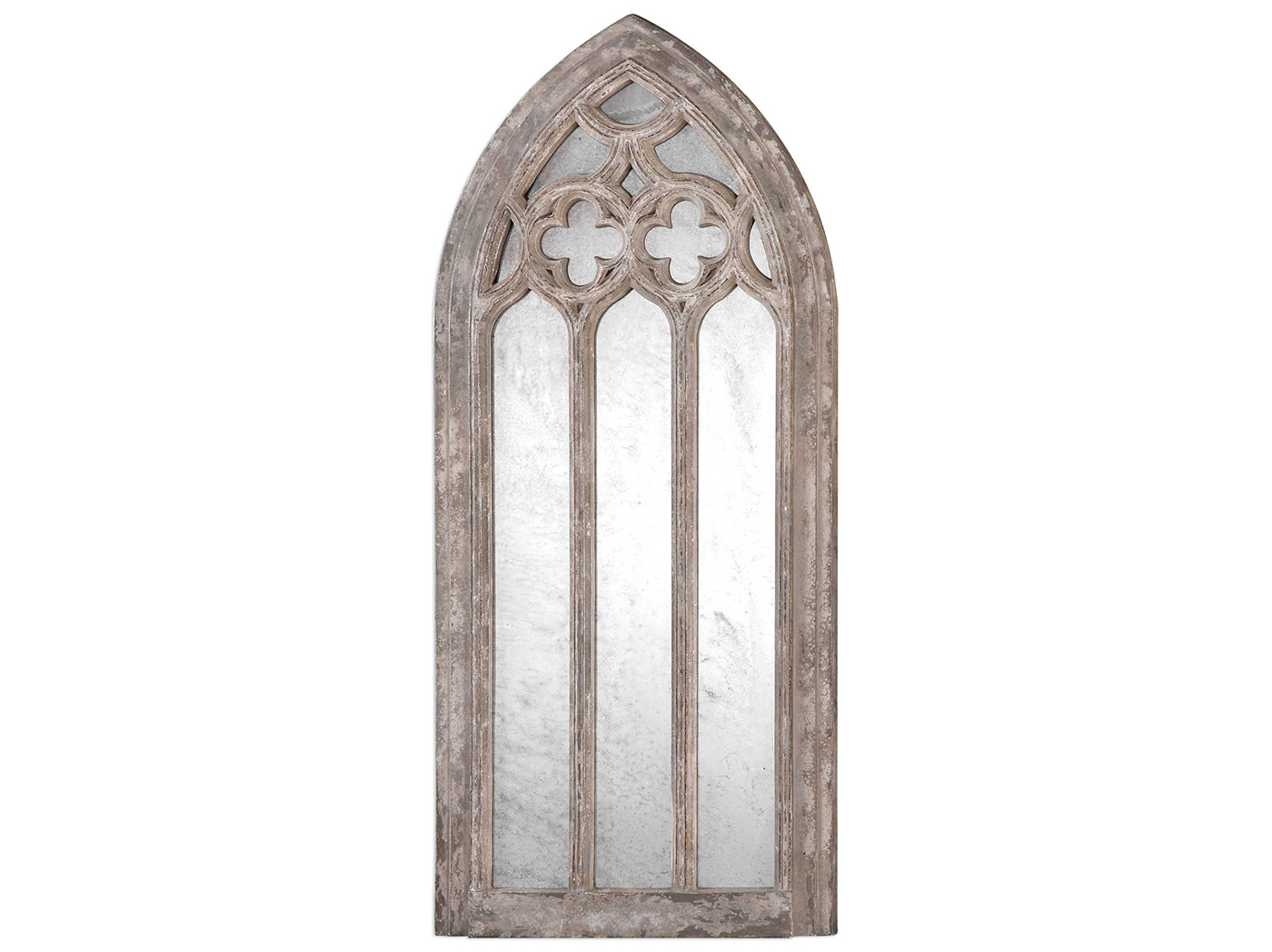 "Ivory and Grey Arch Mirror 17""W x 36""H"