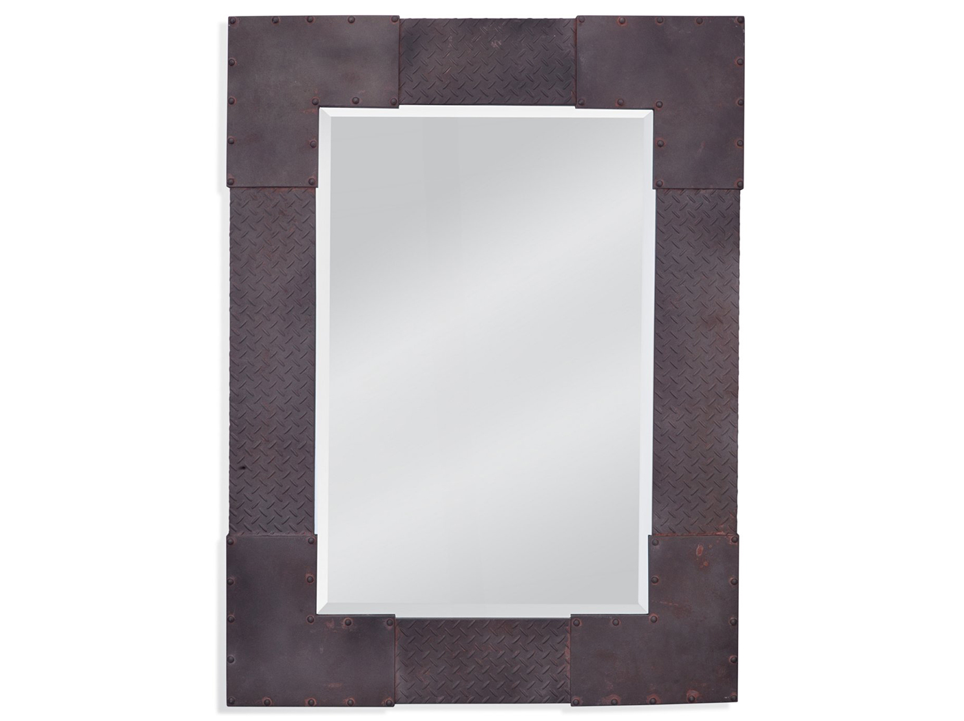 "Brown Metal Riveted Frame Mirror 36""Wx48""H"