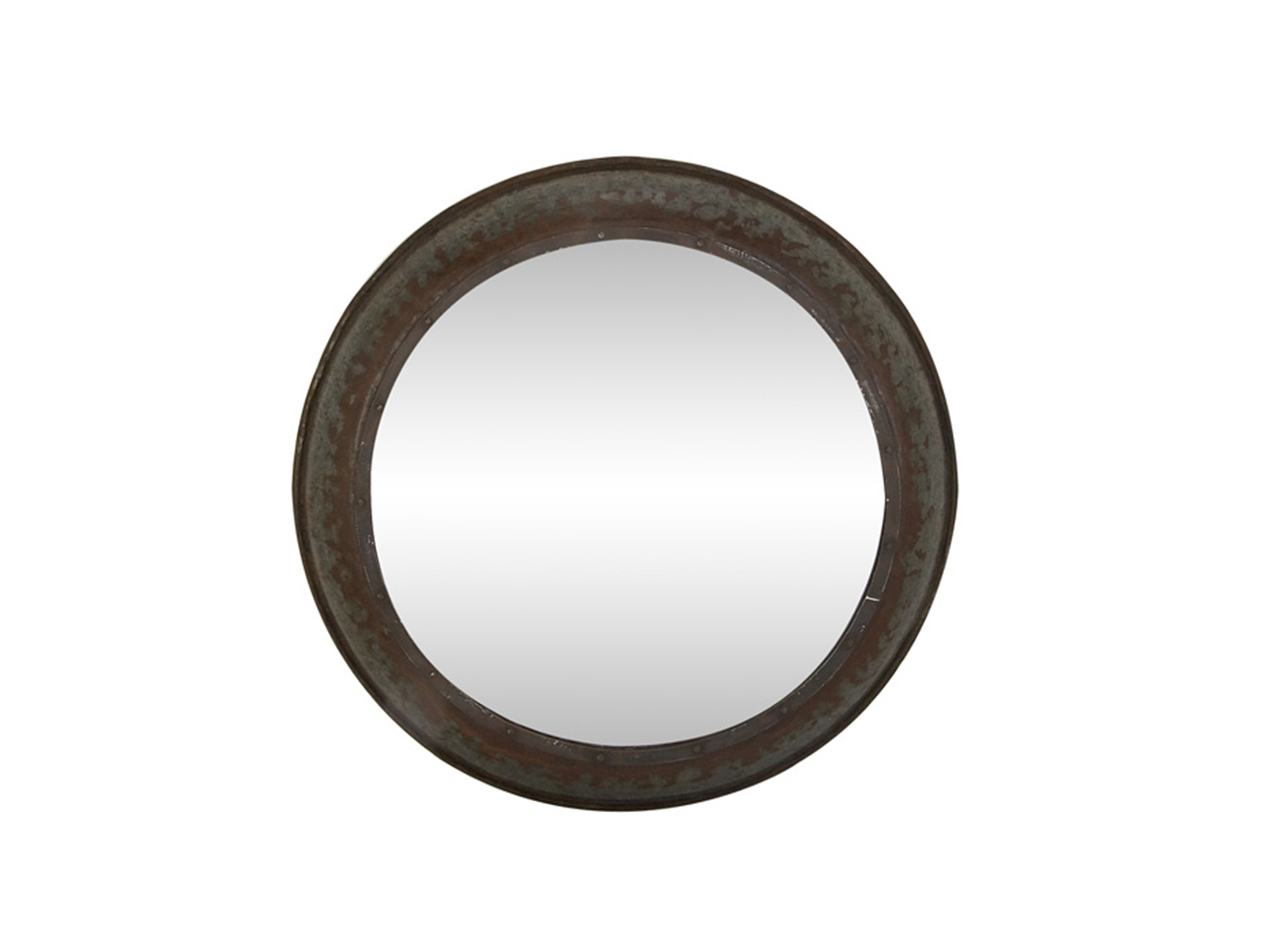 Antique Bronze Metal Round Wall Mirror 35""