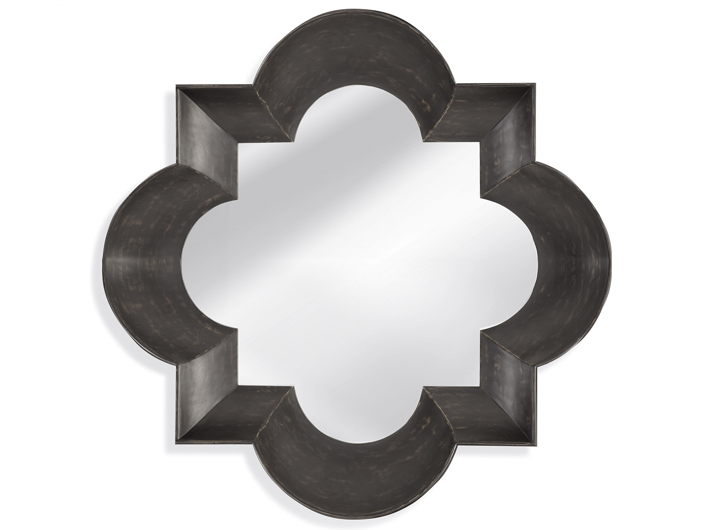 "Black/Brown Quartrefoil Mirror 48""W x 48""H"